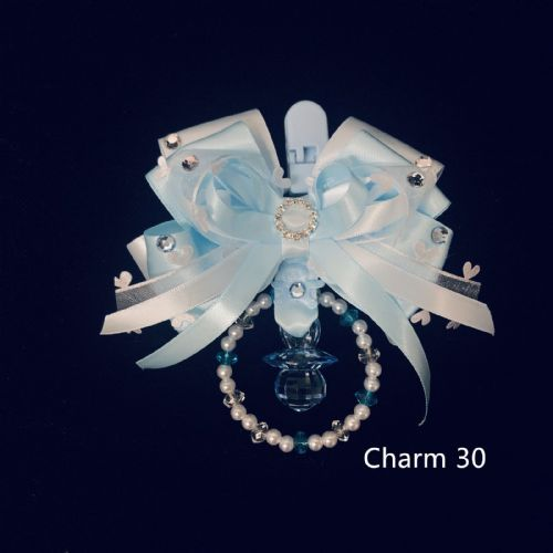 Stunning Hand Craft Pram Charm/Blue Ribbon/Diamante Buckle and Dummy